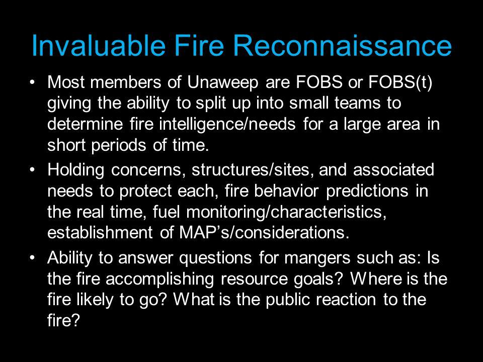 Invaluable Fire Reconnaissance
