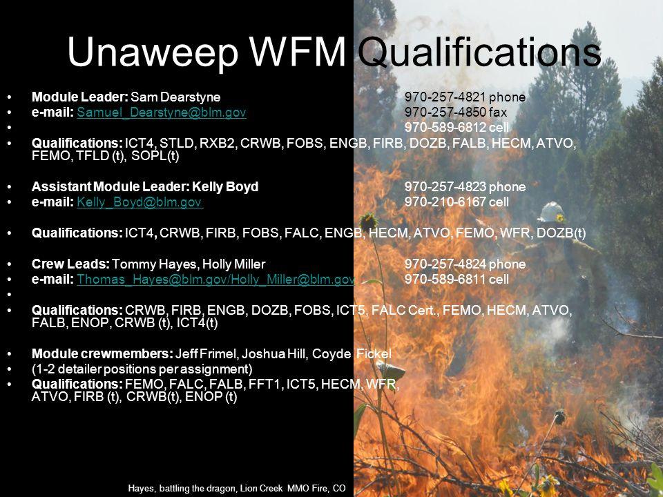 Unaweep WFM Qualifications