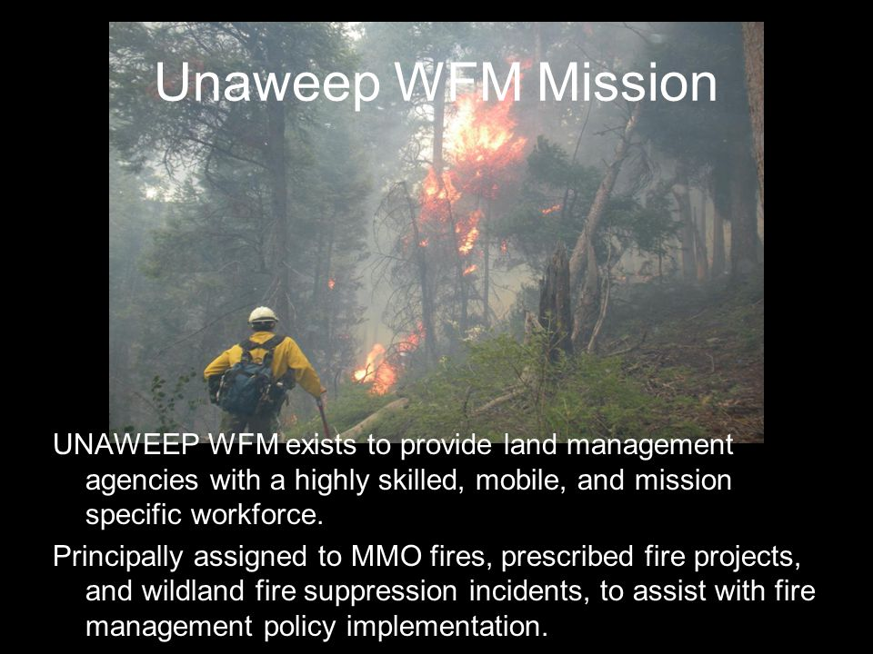 Unaweep WFM Mission UNAWEEP WFM exists to provide land management agencies with a highly skilled, mobile, and mission specific workforce.