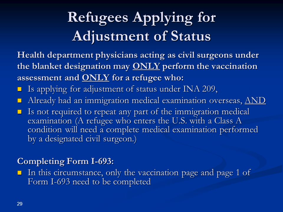 Refugees Applying for Adjustment of Status