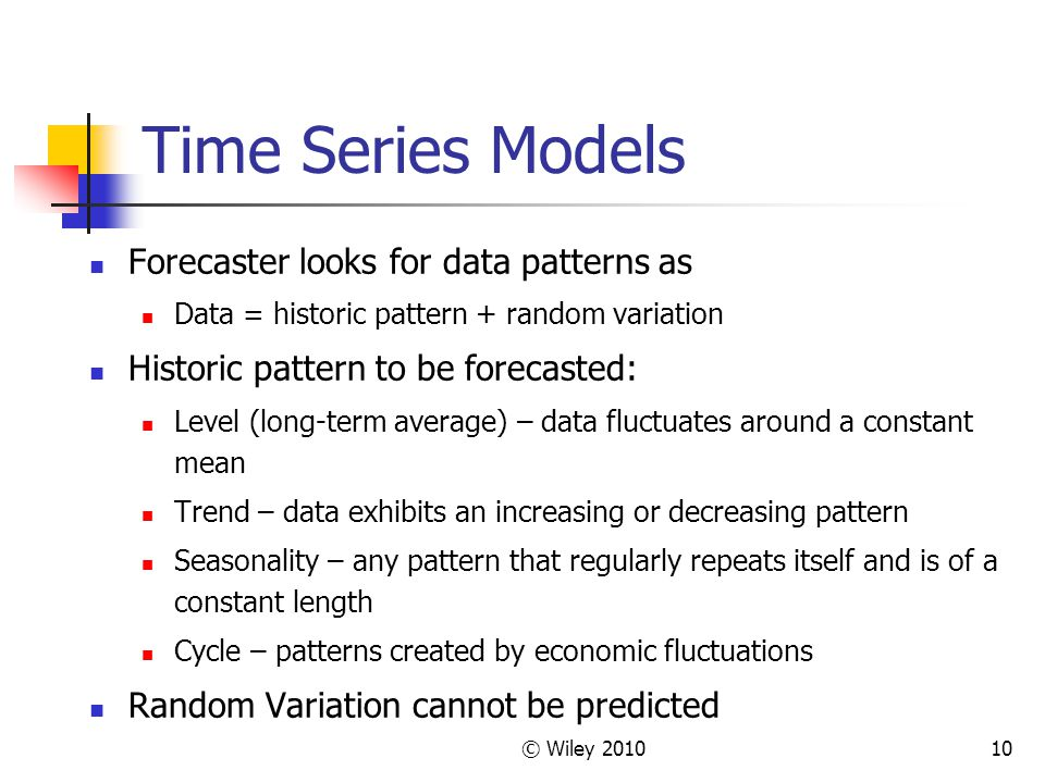 Time Series Models Forecaster looks for data patterns as