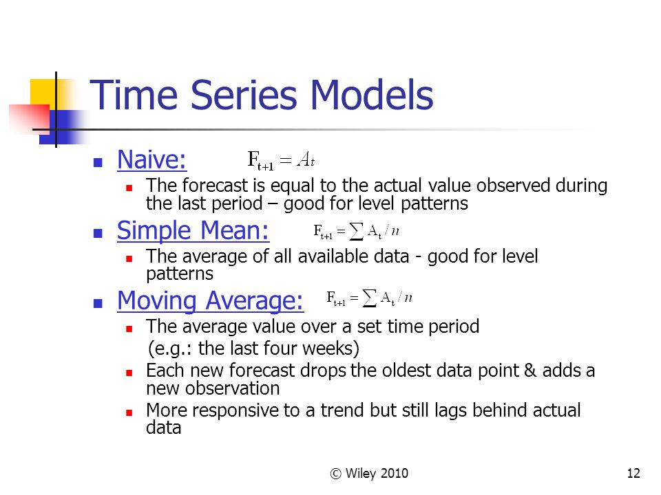 Time Series Models Naive: Simple Mean: Moving Average: