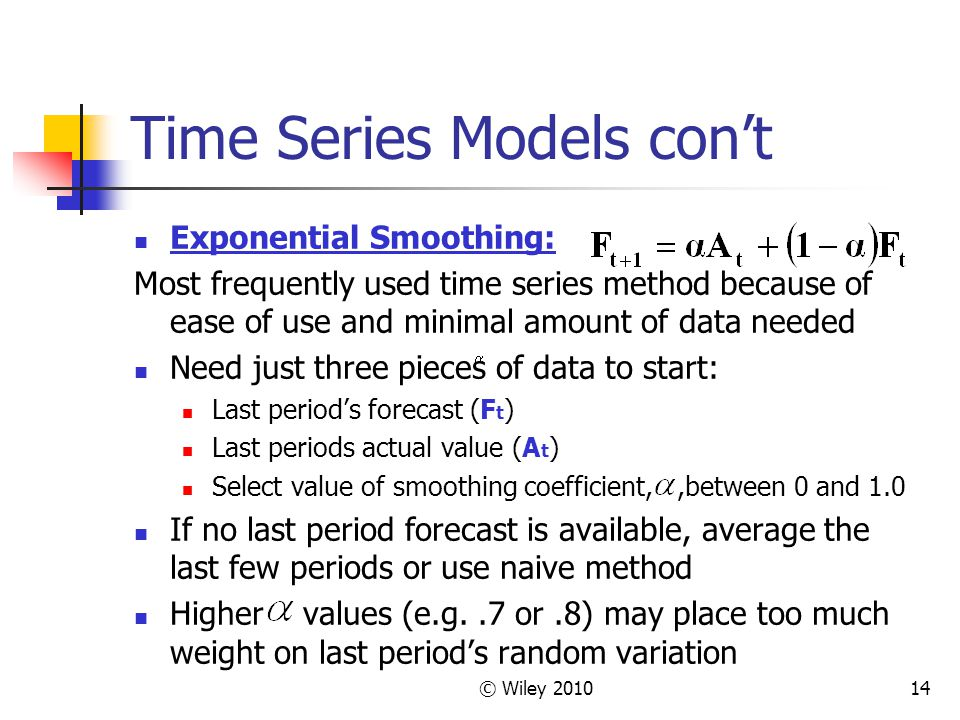 Time Series Models con't