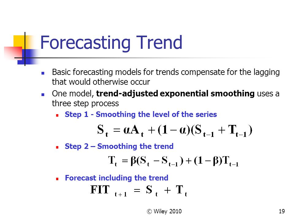 Forecasting Trend Basic forecasting models for trends compensate for the lagging that would otherwise occur.