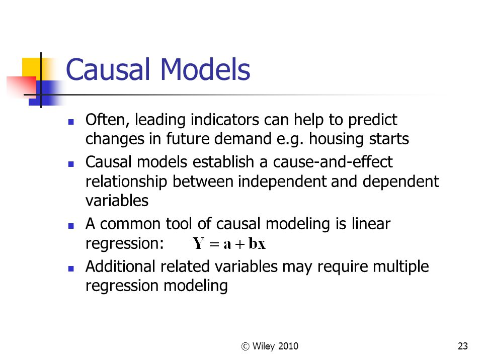 Causal Models Often, leading indicators can help to predict changes in future demand e.g. housing starts.