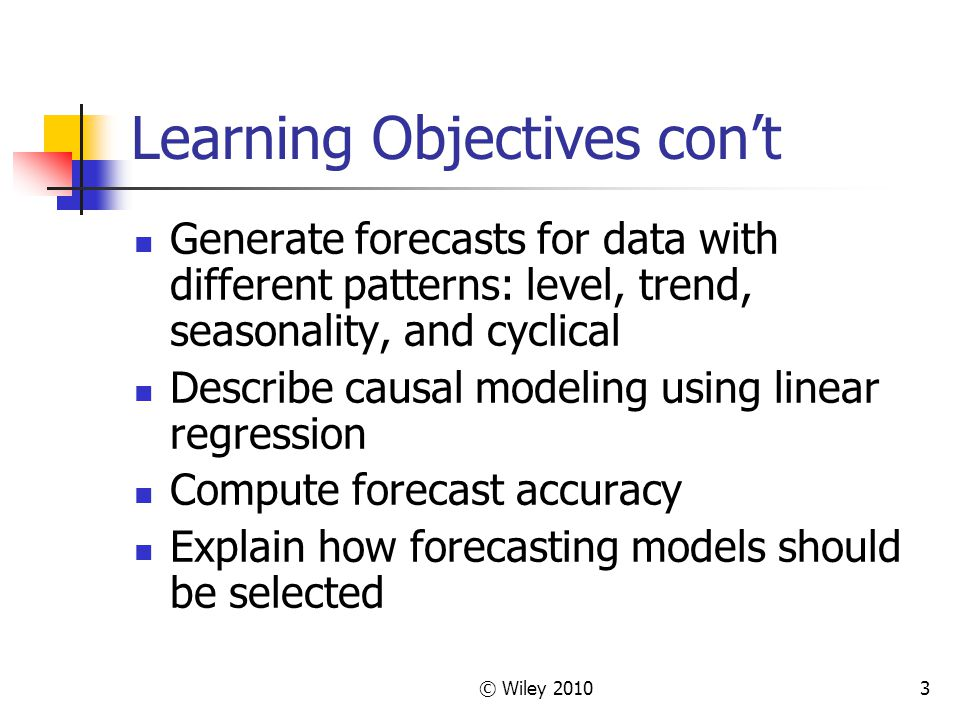 Learning Objectives con't