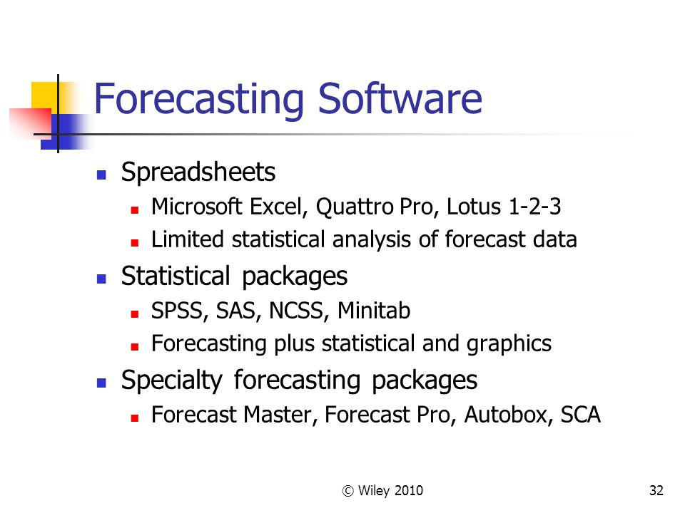 Forecasting Software Spreadsheets Statistical packages