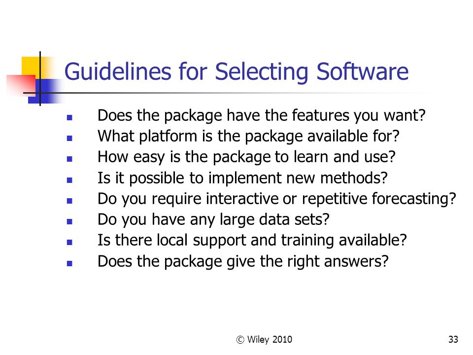 Guidelines for Selecting Software