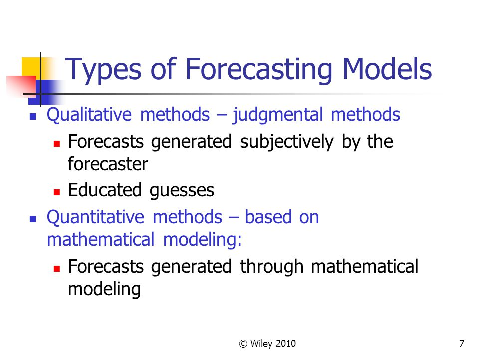 Types of Forecasting Models