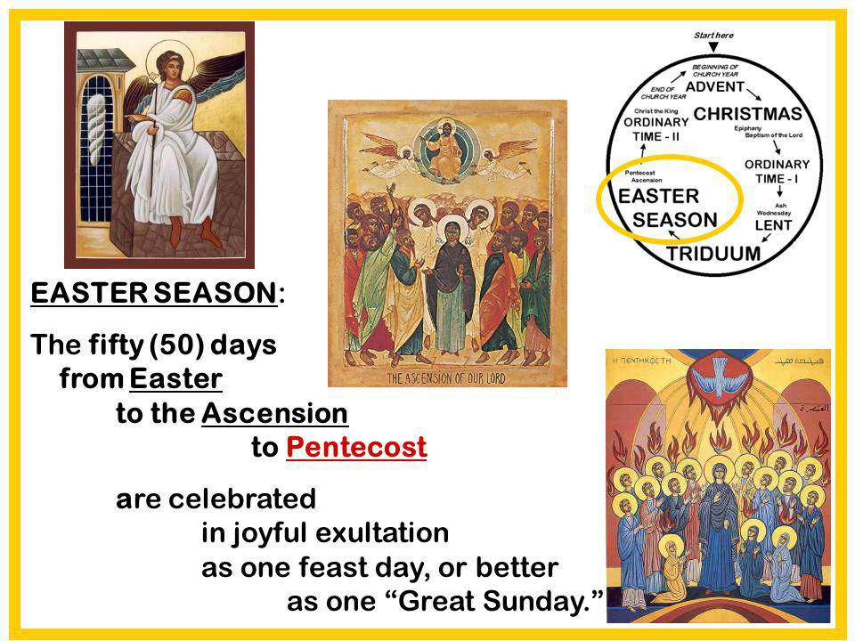 EASTER SEASON: The fifty (50) days from Easter to the Ascension to Pentecost.