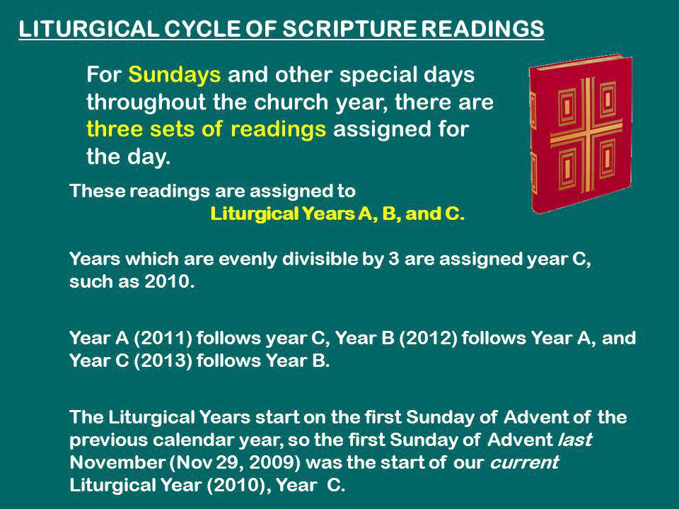 LITURGICAL CYCLE OF SCRIPTURE READINGS