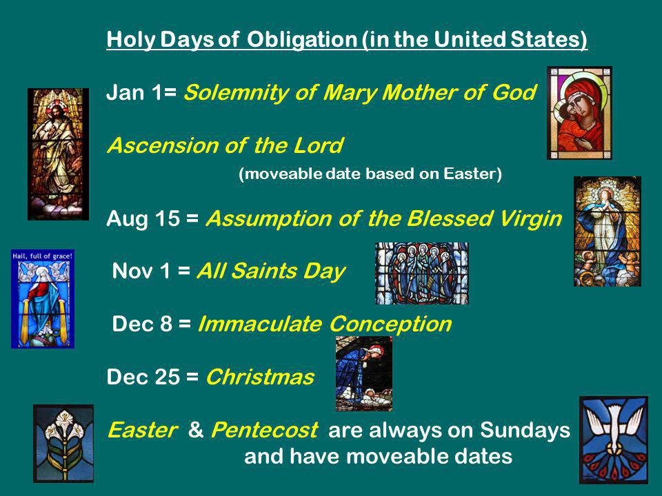 Holy Days of Obligation (in the United States)