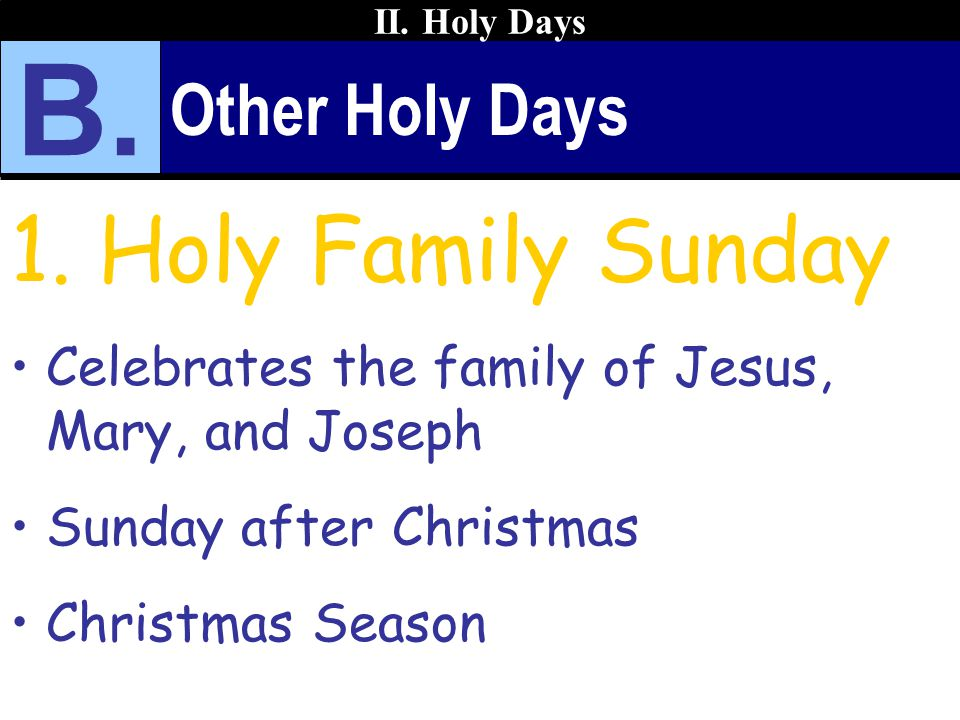 B. Holy Family Sunday Other Holy Days