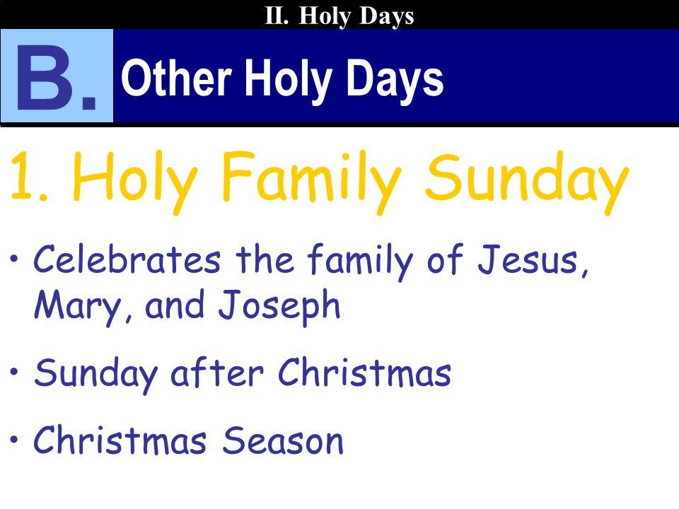 B. Holy Family Sunday Other Holy Days