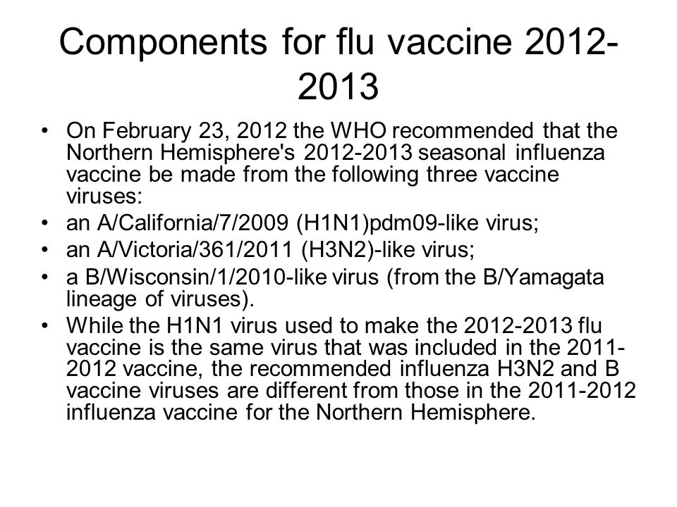 Components for flu vaccine 2012- 2013