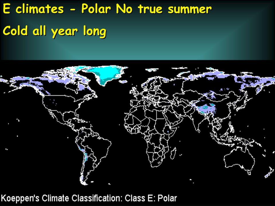 E climates - Polar No true summer