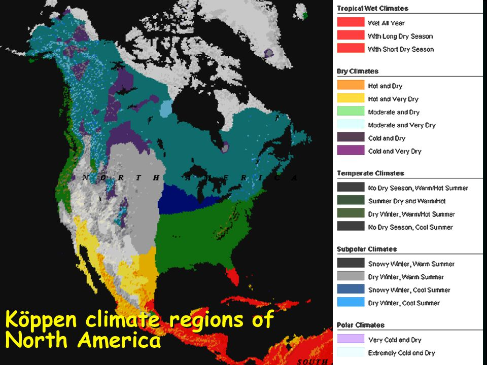 Köppen climate regions of North America