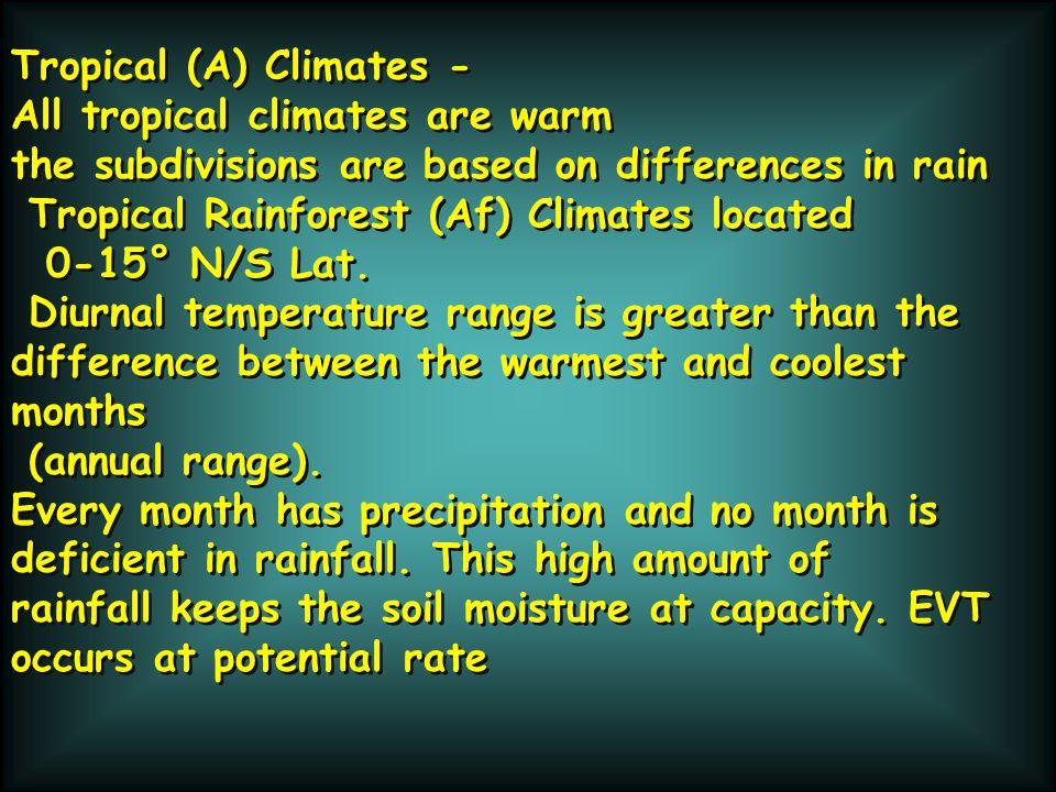 Tropical (A) Climates -
