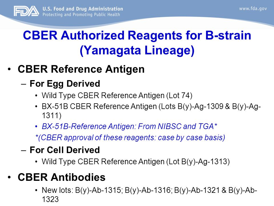 CBER Authorized Reagents for B-strain (Yamagata Lineage)
