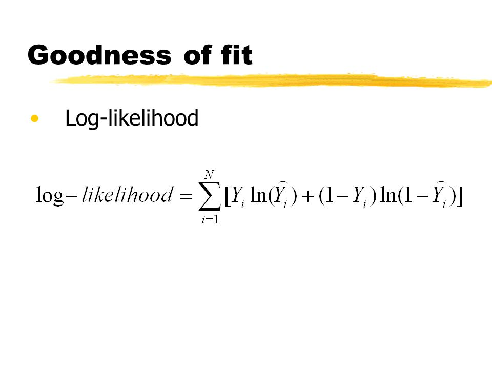 Goodness of fit Log-likelihood