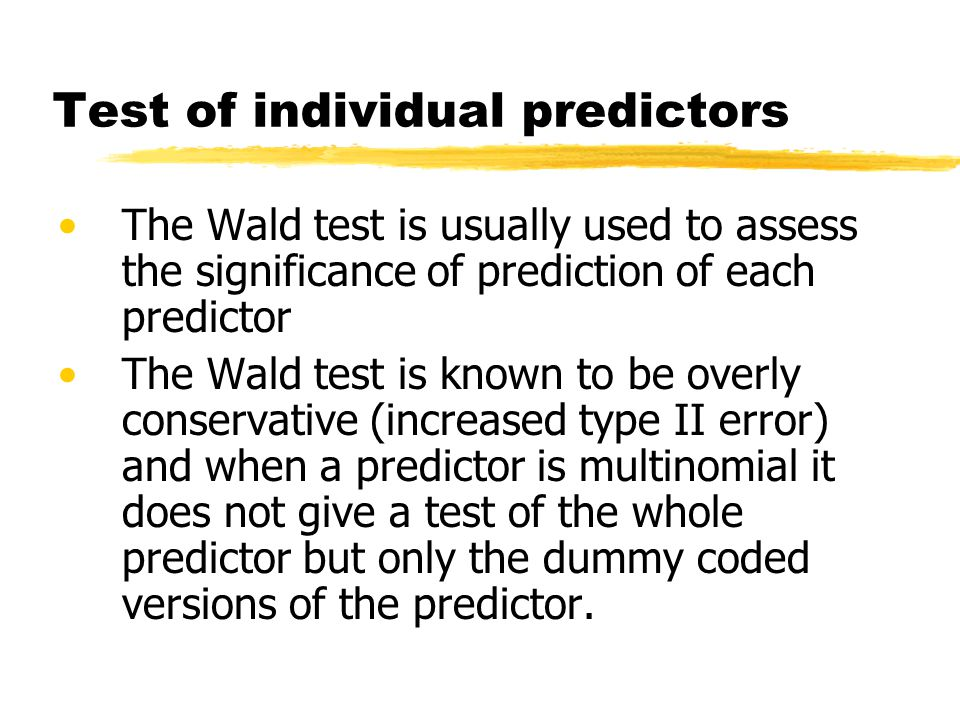 Test of individual predictors