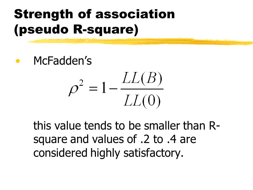 Strength of association (pseudo R-square)