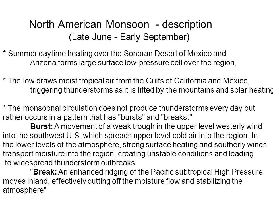 North American Monsoon - description