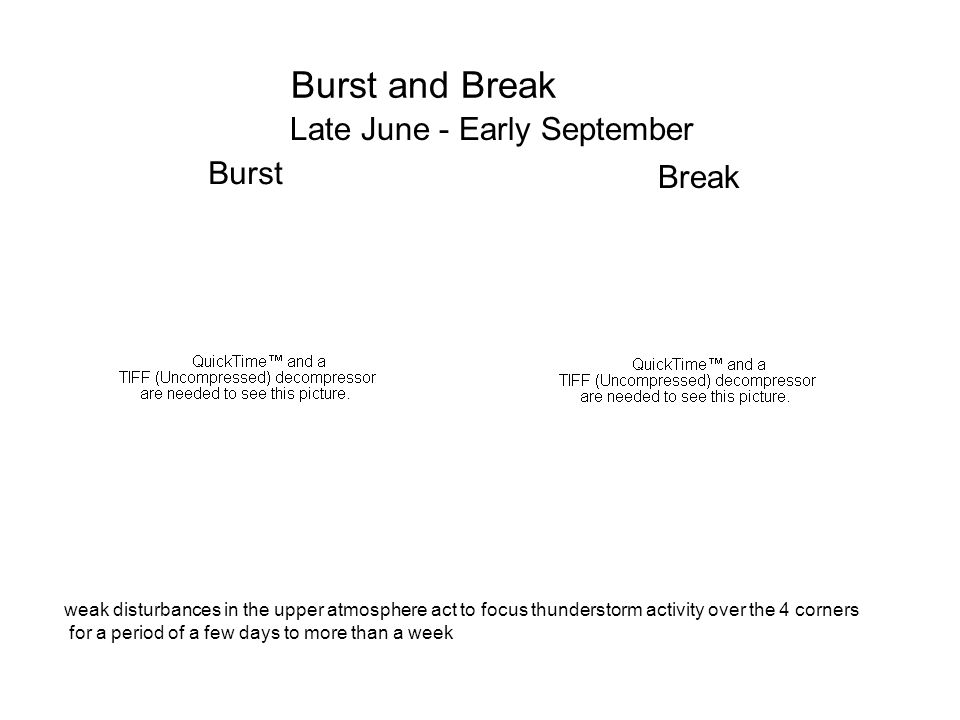 Burst and Break Late June - Early September Burst Break