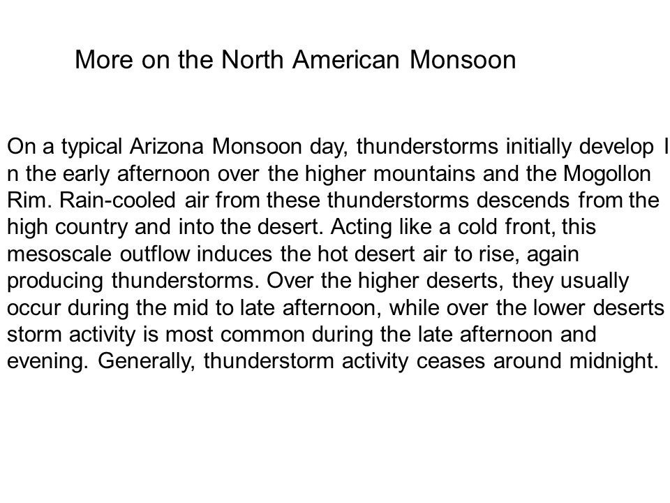More on the North American Monsoon