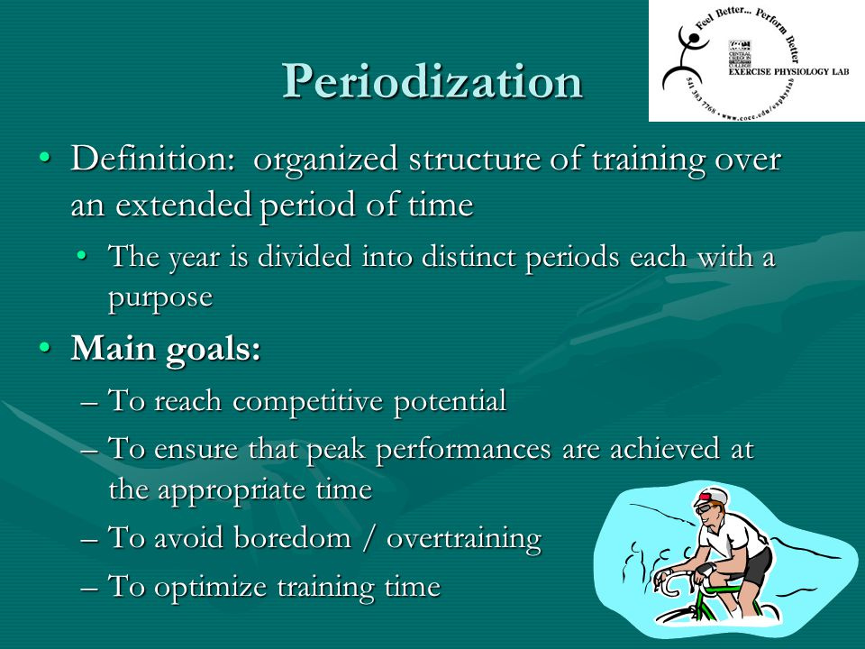 Periodization Definition: organized structure of training over an extended period of time.