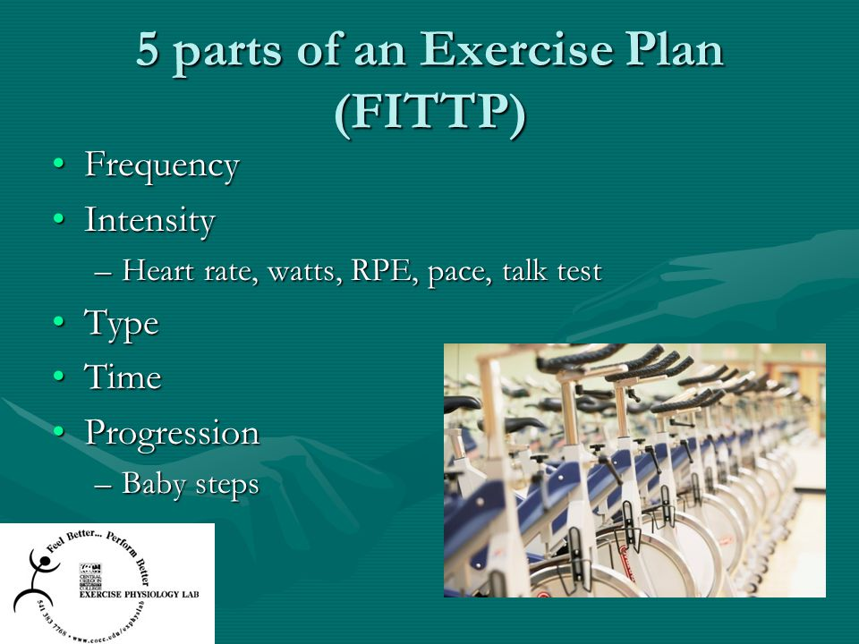 5 parts of an Exercise Plan (FITTP)