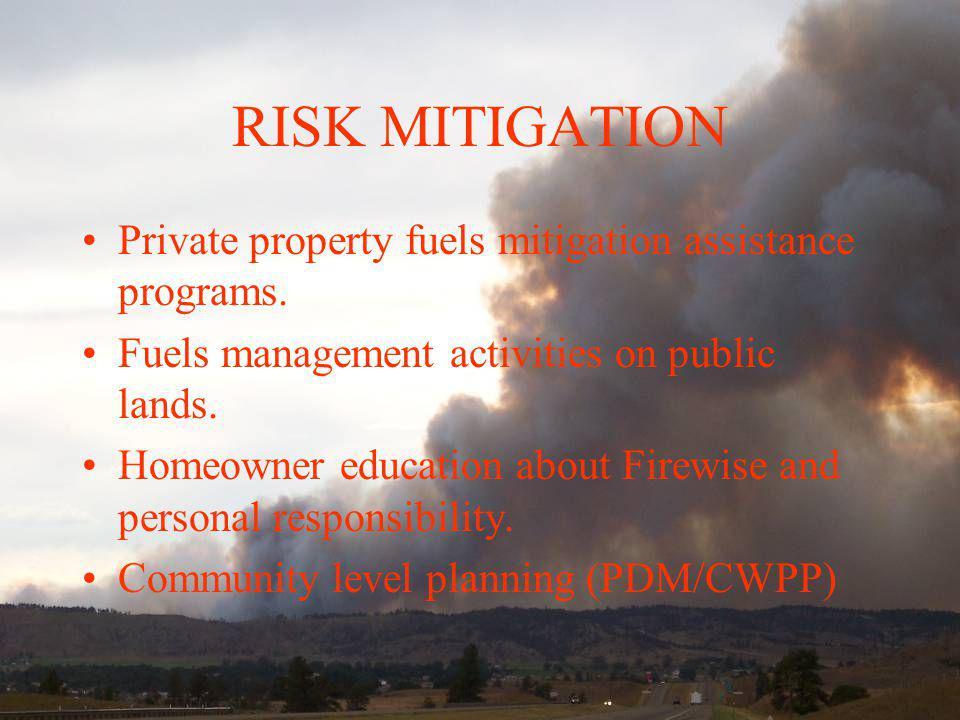 RISK MITIGATION Private property fuels mitigation assistance programs.