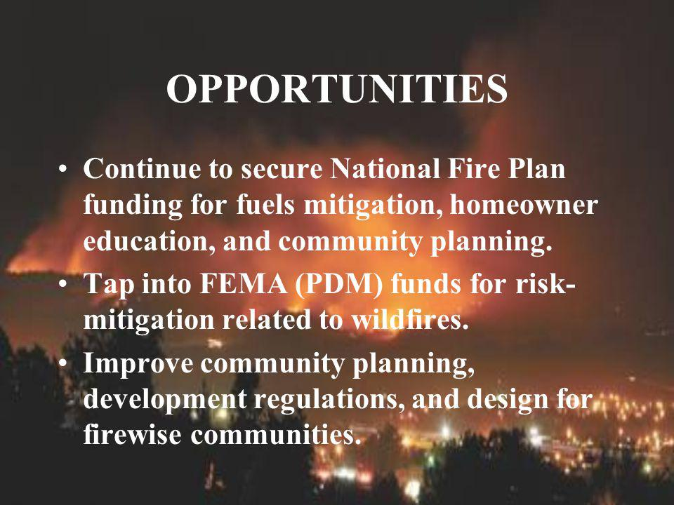 OPPORTUNITIES Continue to secure National Fire Plan funding for fuels mitigation, homeowner education, and community planning.