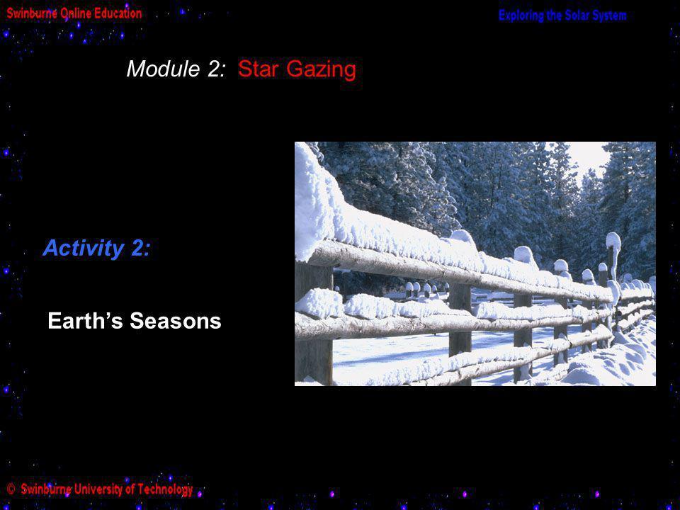 Module 2: Star Gazing Activity 2: Earth's Seasons