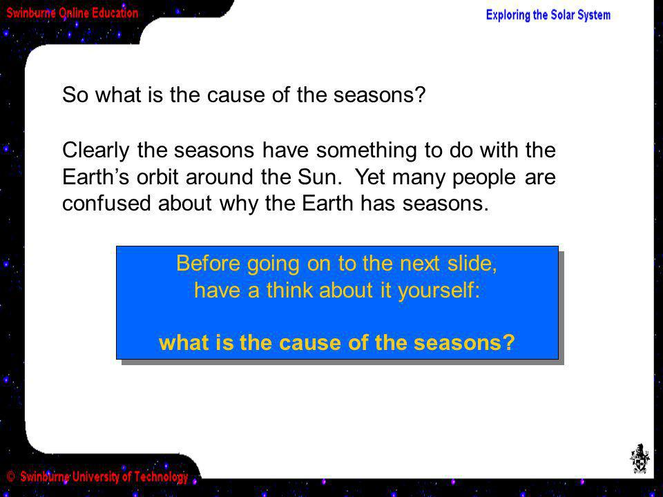So what is the cause of the seasons