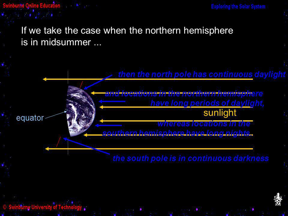 If we take the case when the northern hemisphere is in midsummer ...