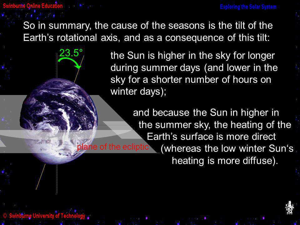So in summary, the cause of the seasons is the tilt of the Earth's rotational axis, and as a consequence of this tilt: