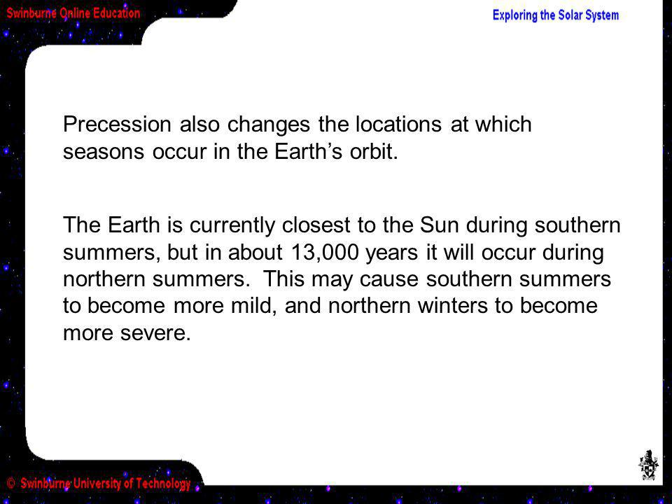 Precession also changes the locations at which seasons occur in the Earth's orbit.