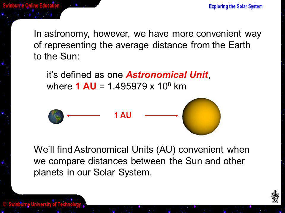 it's defined as one Astronomical Unit, where 1 AU = 1.495979 x 108 km