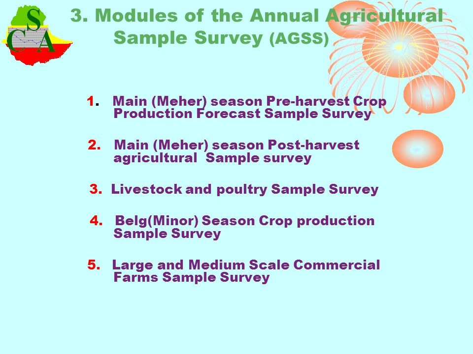 3. Modules of the Annual Agricultural Sample Survey (AGSS)