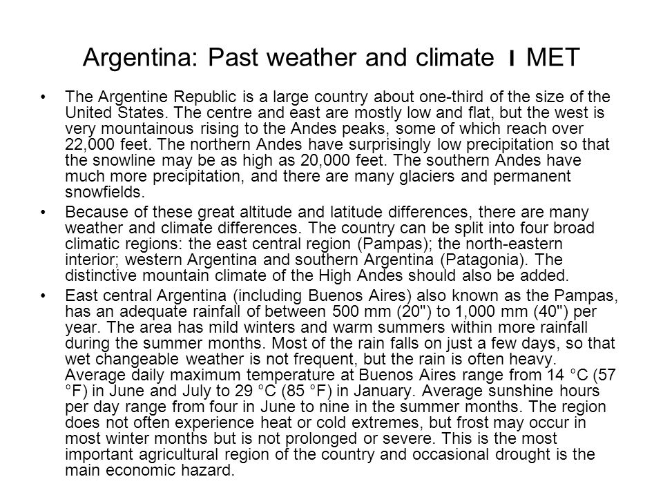 Argentina: Past weather and climate I MET
