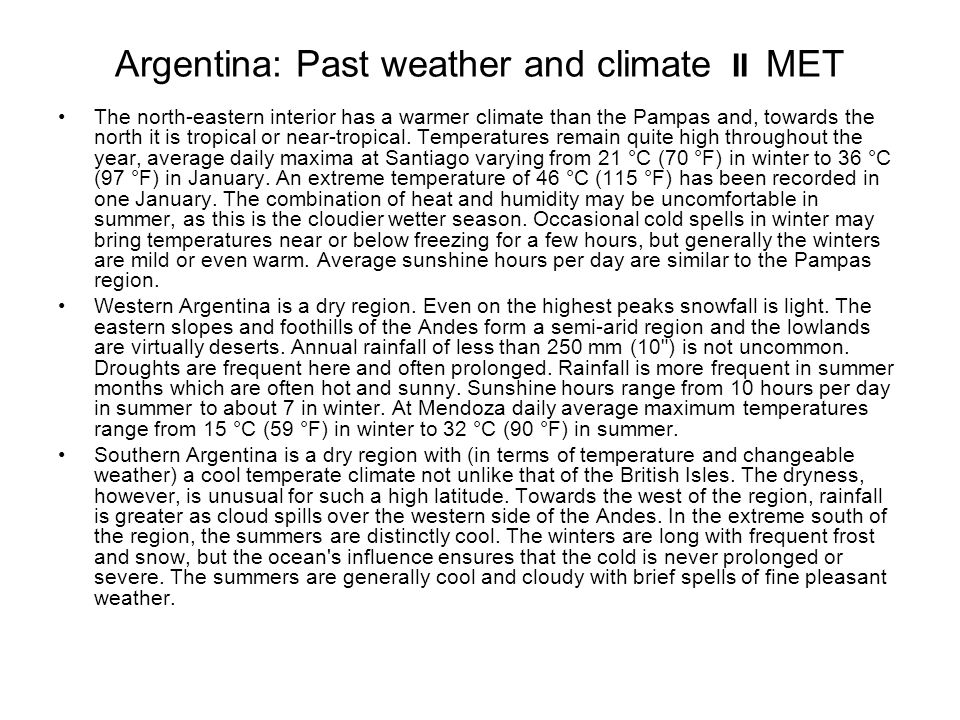 Argentina: Past weather and climate II MET