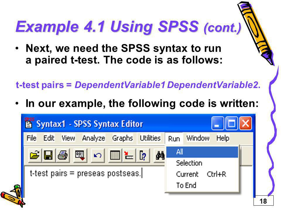 Example 4.1 Using SPSS (cont.)