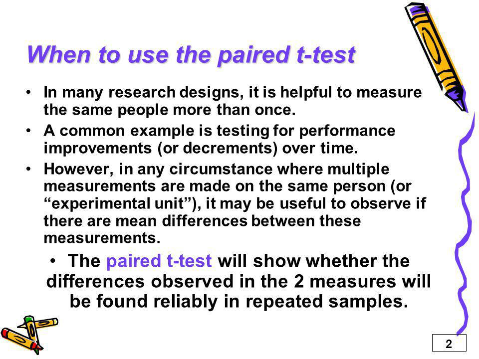 When to use the paired t-test