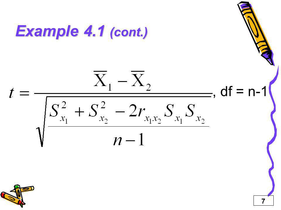 Example 4.1 (cont.) , df = n-1