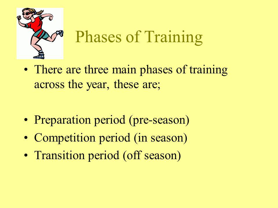 Phases of Training There are three main phases of training across the year, these are; Preparation period (pre-season)
