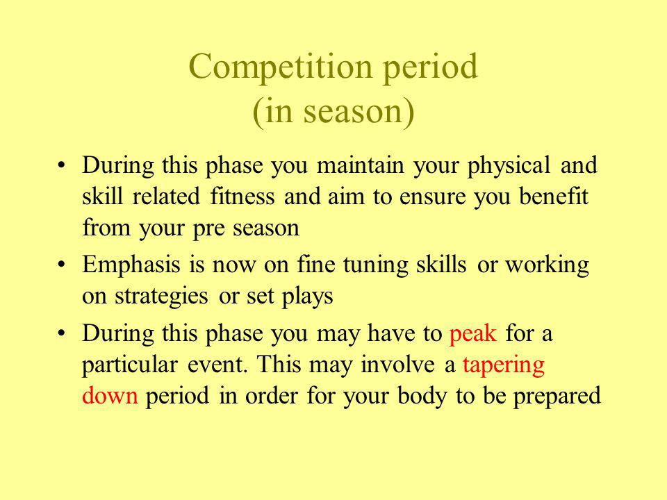 Competition period (in season)
