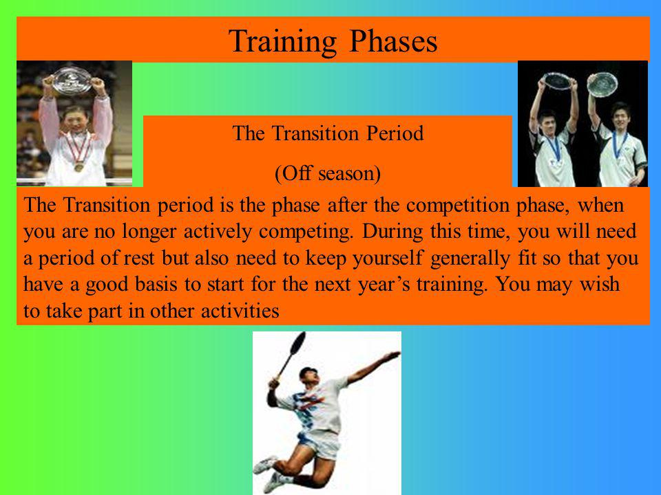 Training Phases The Transition Period (Off season)