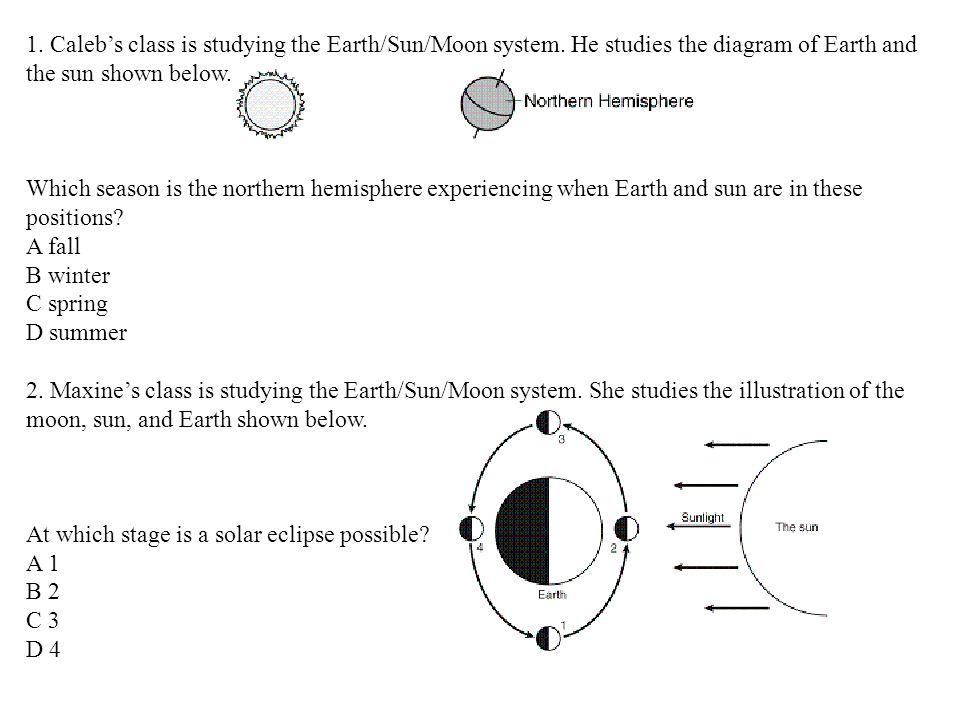 1. Caleb's class is studying the Earth/Sun/Moon system
