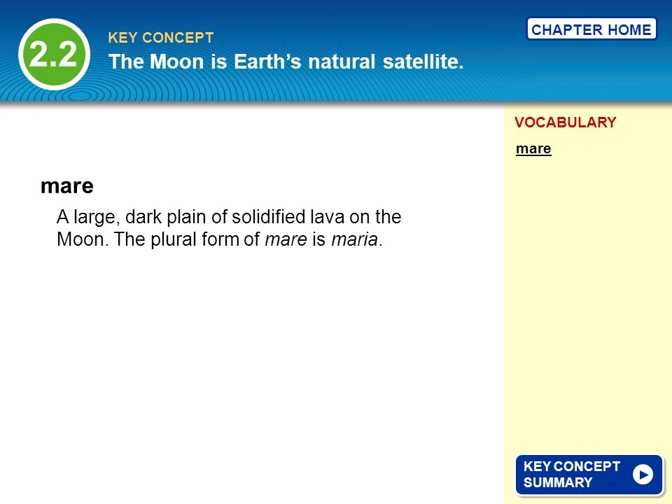 2.2 mare The Moon is Earth's natural satellite.